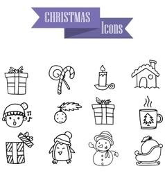 Holiday and Christmas icons hand draw vector