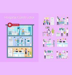 hospital constructor icons vector image