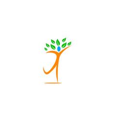 human leaf logo vector image