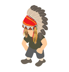 Indian man icon isometric style vector
