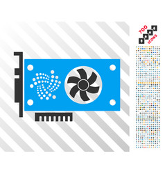 Iota video gpu card flat icon with bonus vector