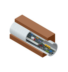 isometric underground tunnel for vehicular road vector image