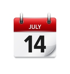 July 14 flat daily calendar icon Date vector