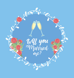 Just married with wine glass and branch decoration vector