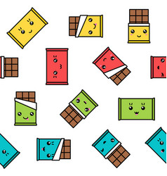 Kawaii chocolate seamless pattern colorful vector