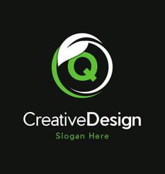 Letter q circle leaf creative business logo vector