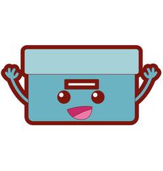 Line color happy box archive kawaii cartoon vector