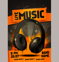 live electro music party poster with headphones vector image