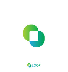 loop square box letter o logo nature logo concept vector image