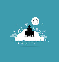 man working with computer on cloud artwork vector image