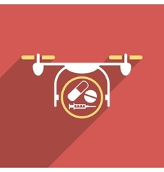 Medication Quadcopter Flat Longshadow Square Icon vector