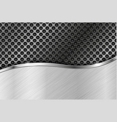 Metal perforated background with brushed element vector
