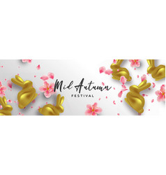 mid autumn banner gold rabbit and 3d pink flower vector image