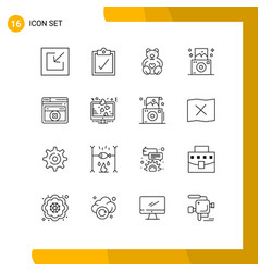 Modern set 16 outlines pictograph lcd vector