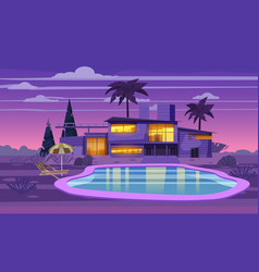 Modern villa on residence in exotic country night vector