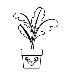 Monochrome silhouette of caricature beet plant in vector
