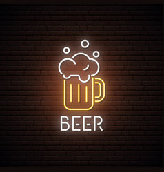 Neon sign of beer mug neon bar emblem vector