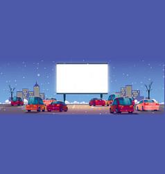 Outdoor cinema winter drive-in movie theater vector