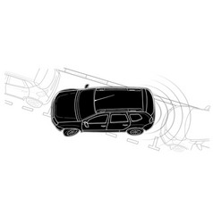 parking car line technical draw style vector image