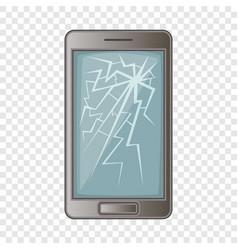 Phone with broken screen icon cartoon style vector