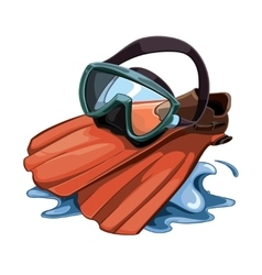 picture with Water mask and red flippers vector image