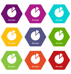 Pie chart icons set 9 vector