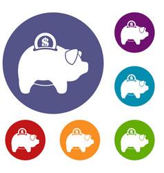 Pig money box icons set vector