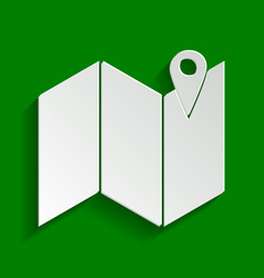 Pin on the map paper whitish icon with vector