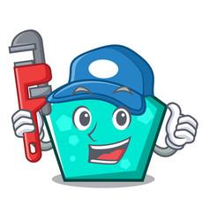 Plumber pentagon mascot cartoon style vector