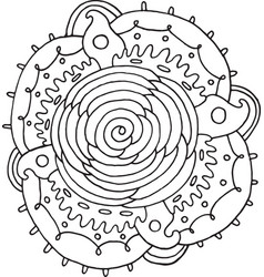 rose flower mandala doodle coloring page for vector image