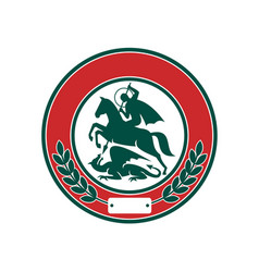 saint george slaying dragon circle retro vector image