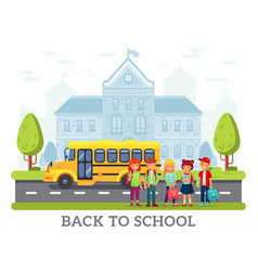 school yellow bus for children back to vector image