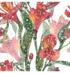 Seamless background Red alstroemeria vector image