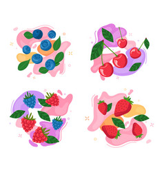 set berries on abstract background vector image