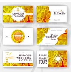 set geometric summer visiting card vector image