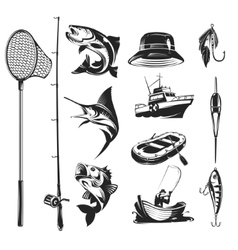 set icons on theme fishing vector image
