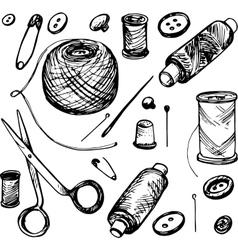 Set of ink drawing needlework equipment vector