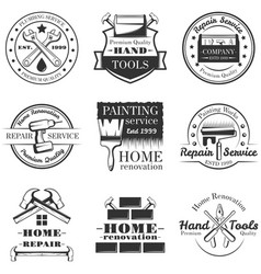 Set of vintage home repair labels badges vector