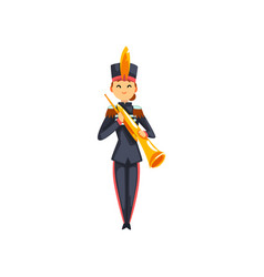 Soldier playing brass wind musical instrument vector