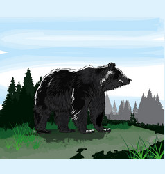 stay at home black bear poster vector image