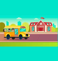 Students go to school on schoolbus vector