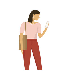 stylish woman standing and using smartpone vector image