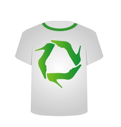 T Shirt Template- Recycle shoes vector