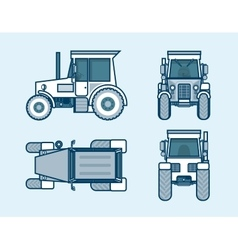 tractor top front side back view line style vector image