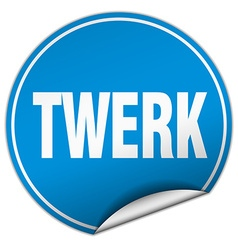 Twerk round blue sticker isolated on white vector