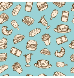 vintage food pattern vector image