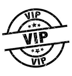 Vip round grunge black stamp vector
