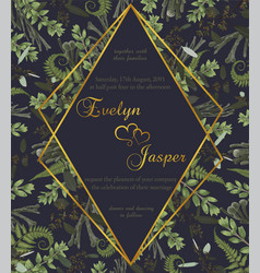 Wedding floral invite card watercolor green vector