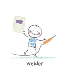 welder holds welder vector image