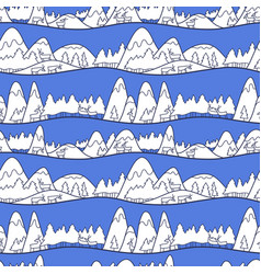 winter cute landscape christmas seamless pattern vector image